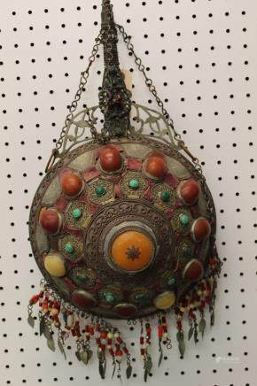Tibetan water bottle with amber and glass beads decorat
