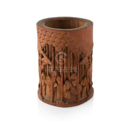CARVED AND PIERCED BAMBOO 'SEVEN SAGES' BRUSHPOT QING DYNAST