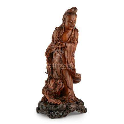 CARVED BOXWOOD FIGURE OF GUANYIN LATE QING DYNASTY/REPUBLIC