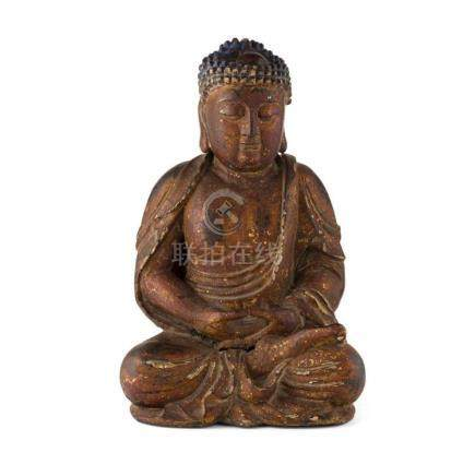 LACQUERED WOODEN FIGURE OF SEATED BUDDHA QING DYNASTY, 19TH