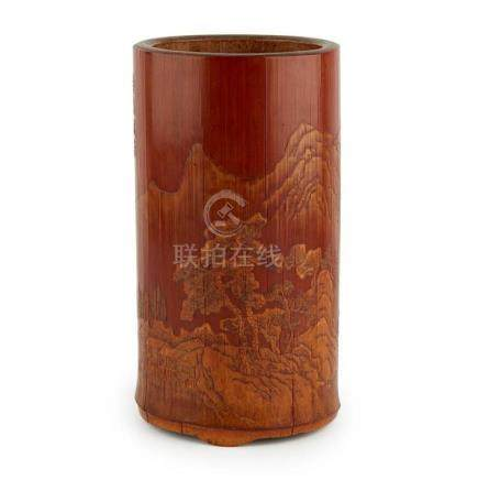 CARVED AND INSCRIBED BAMBOO BRUSH POT SIGNED ZHANG WENYOU, 1