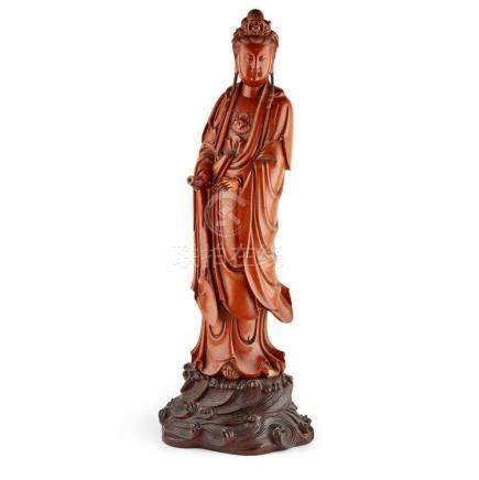 CARVED WOODEN FIGURE OF GUANYIN 61cm high (overall)