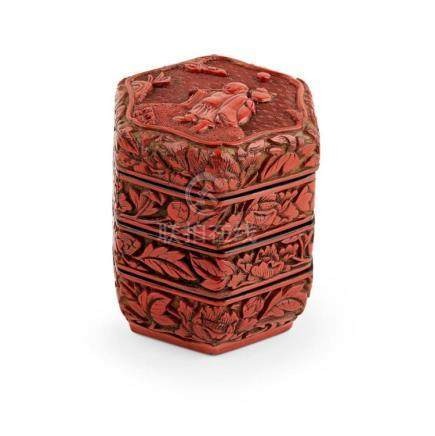 CARVED CINNABAR LACQUER HEXAGONAL THREE-TIERED BOX AND COVER