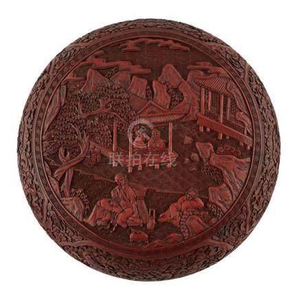 CINNABAR LACQUER CIRCULAR BOX AND COVER QING DYNASTY, 19TH C