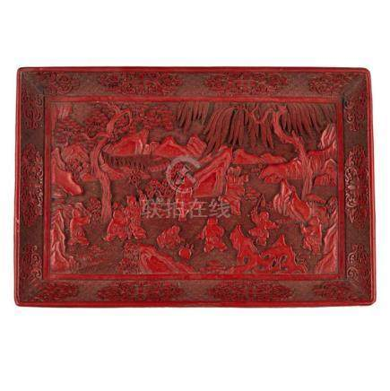 CARVED CINNABAR LACQUER 'BOYS AT PLAY' RECTANGULAR TRAY QING