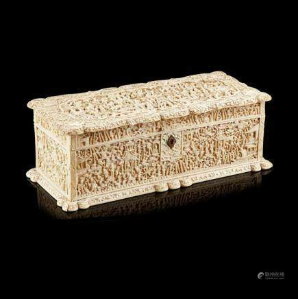 Y FINELY CARVED CANTON IVORY CASKET QING DYNASTY, 19TH CENTU