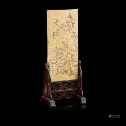 Y CARVED AND INSCRIBED IVORY PLAQUE KANGXI PERIOD 20cm high