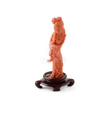 Y CORAL FIGURE OF A FEMALE IMMORTAL LATE 19TH/EARLY 20TH CEN