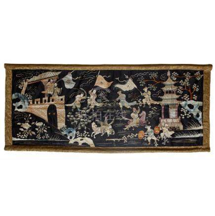 EMBROIDERED SILK BLACK-GROUND PANEL QING DYNASTY, LATE 19TH