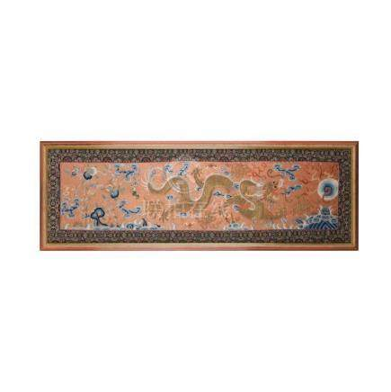 EMBROIDERED RUST-RED GROUND 'DRAGON' PANEL LATE 19TH/EARLY 2