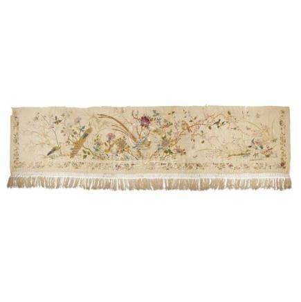 IMPRESSIVE EMBROIDERED SILK 'BIRDS AND FLOWERS' PANEL LATE Q