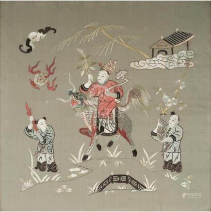 EMBROIDERED SILK GREEN-GROUND PANEL QING DYNASTY, 19TH CENTU