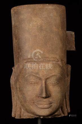 17th-18th Century Sandstone Vishnu Head - Protector &