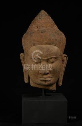 18th Century Khmer Stone Buddha Head