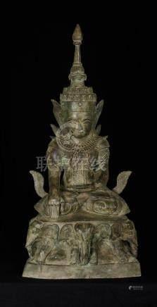 19th Century Laos Enlightenment Buddha on Elephant
