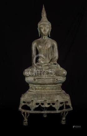 19th Century Enthroned Laos Meditation Buddha