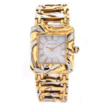 Man's Circa 1973 Buccellati Two Tone 18 Karat Gold Bracelet Watch with Mother of Pearl Dial and Man