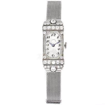 Antique Circa 1910 Tiffany & Co Approx. .85 Carat Diamond and Platinum Lady's Watch with Adjustable