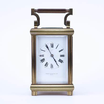 Antique Palmer Bachelder & Co, Boston Gilt Brass Carriage Clock. Maker's mark inscribed to dial, Ro