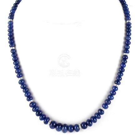 Approx. 188.00 Carat Sapphire Bead and 14 Karat White Gold Necklace with Diamond Accented Rondels.
