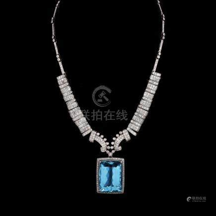 Art Deco Large Aquamarine, Diamond and Platinum Pendant Necklace. Aquamarine measures 24mm x 17mm.