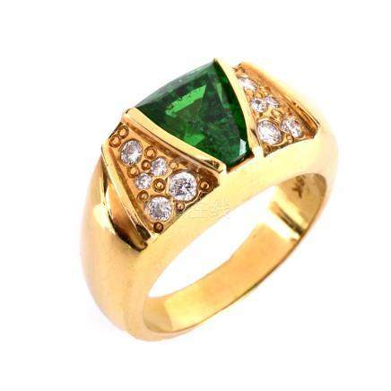 Vintage Approx. 2.48 Carat Trapezoidal Cut Tsavorite Garnet, Diamond and 18 Karat Yellow Gold Ring.