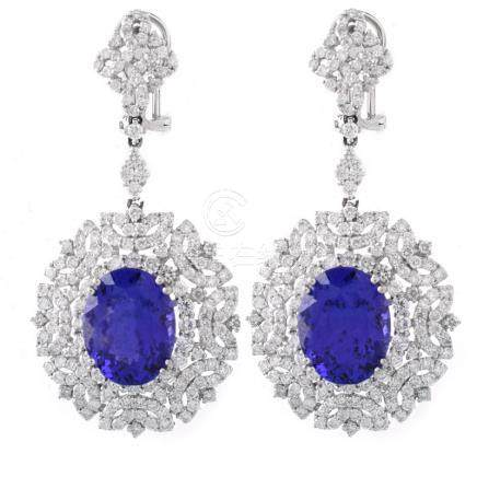 Approx. 11.65 Carat TW Oval Cut Tanzanite, 6.07 Carat Round Brilliant Cut Diamond and 18 Karat Whit