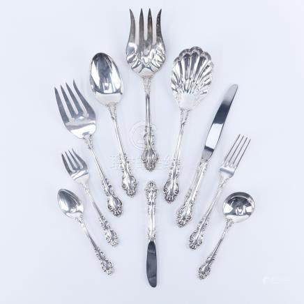 Eighty Five (85) Pieces Reed and Barton \Spanish Baroque\ Sterling Silver Flatware. Includes: 12 fo