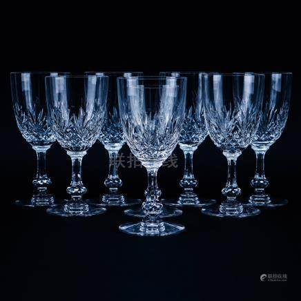 Seven (7) Saint Louis Cristal Massenet Goblets 6-7/8\ and 1 Continental Goblet 6-1/4\. Signed. Goo