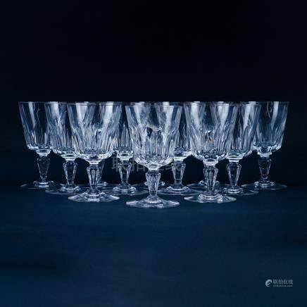 Twelve (12) Baccarat \Biarritz\ Crystal Water Goblets. Signed. One glass has a few flea bites to ri