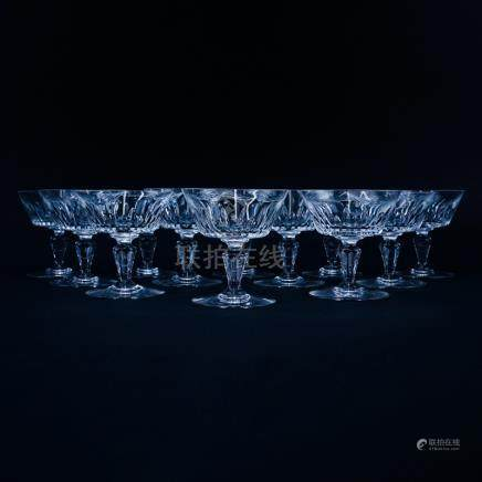 Twelve (12) Baccarat \Biarritz\ Crystal Champagne/Tall Sherbet. Signed. Good condition. Measu