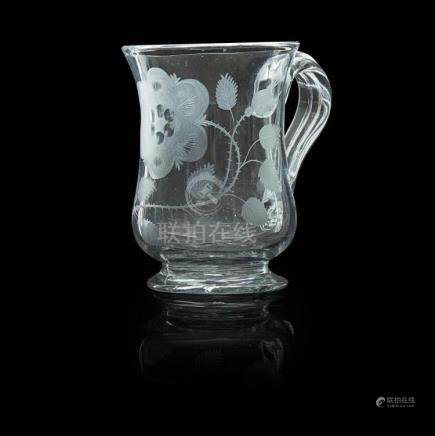 RARE JACOBITE ENGRAVED GLASS TANKARD MID-18TH CENTURY Height