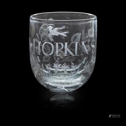 RARE LATE GEORGIAN TUMBLING GLASS EARLY 19TH CENTURY 9cm hig