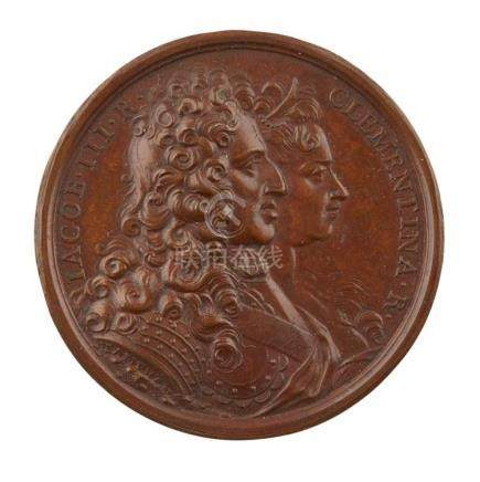 JACOBITE BRONZE BIRTH OF PRINCE CHARLES EDWARD STUART MEDALL