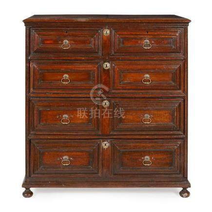 CHARLES II OAK CHEST OF DRAWERS 17TH CENTURY 109cm wide, 113