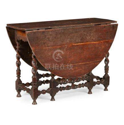 WILLIAM AND MARY OAK GATELEG TABLE LATE 17TH CENTURY 114cm l