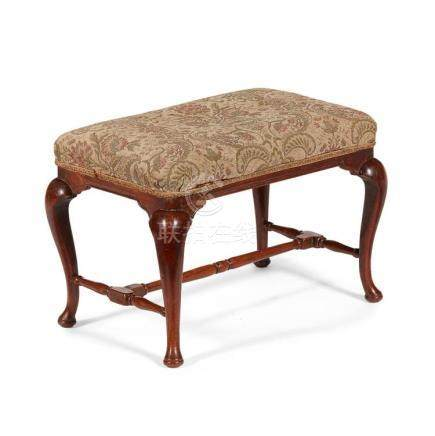 QUEEN ANNE WALNUT STOOL EARLY 18TH CENTURY 64cm wide, 44cm h