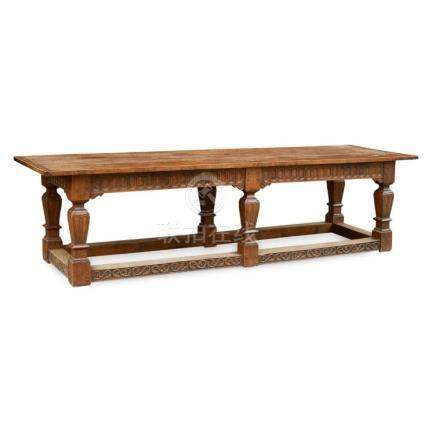 LARGE OAK REFECTORY TABLE 20TH CENTURY 291cm long, 76cm high