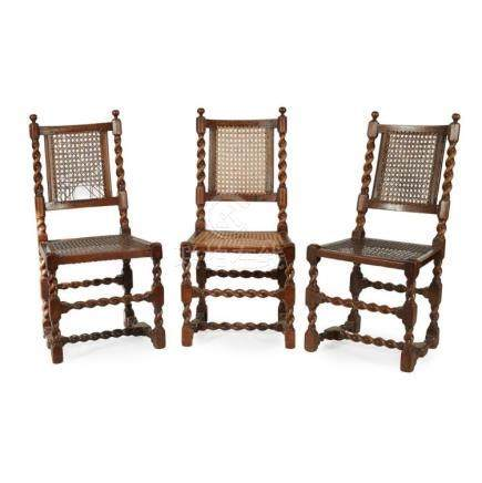 SET OF THREE WILLIAM AND MARY WALNUT AND CANED SIDE CHAIRS L