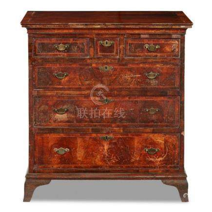 GEORGE I WALNUT CHEST OF DRAWERS EARLY 18TH CENTURY, WITH AL