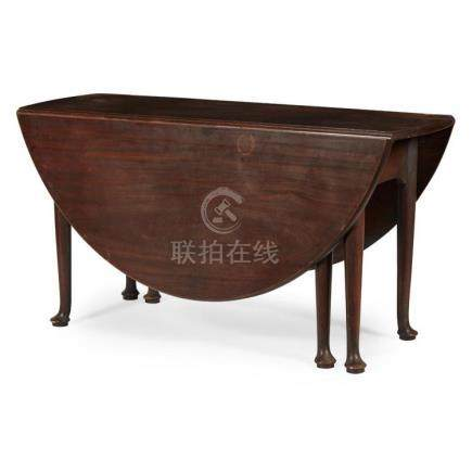 GEORGE II MAHOGANY DROP-LEAF TABLE 18TH CENTURY 142cm long,