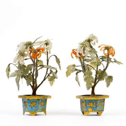 A PAIR OF SMALL CLOISONNE PLANTERS