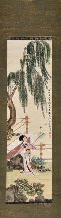 A CHINESE SCROLL PAINTING OF BEAUTY