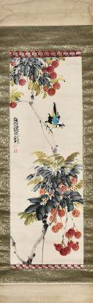 A CHINESE SCROLL PAINTING OF LITCHI AND BIRDS