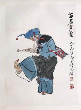 CHINESE SCROLL PAINTING OF A MUSCIAN
