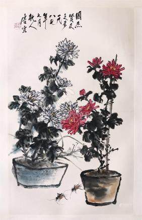 CHINESE SCROLL PAINTING OF FLOWER IN PLANTER