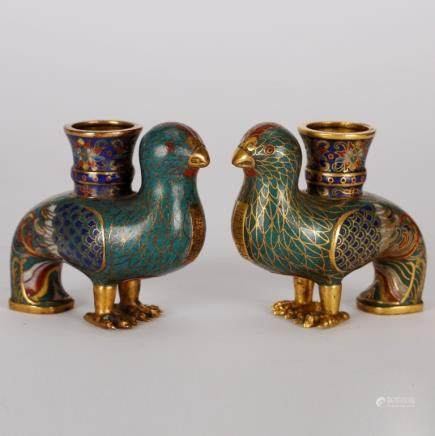Pair Of Chinese Cloisonne Birds Candlesticks
