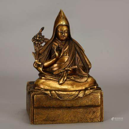 Tibet Gilt Bronze Seated Buddha