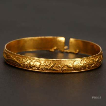 Antiques Chinese Drogan & Phoenix Gold Bracelet