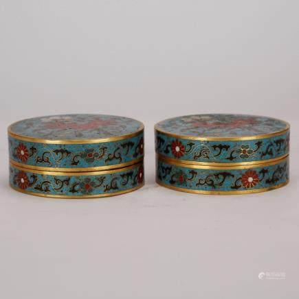 Pr Chinese Cloisonne Enamel Cover Boxes